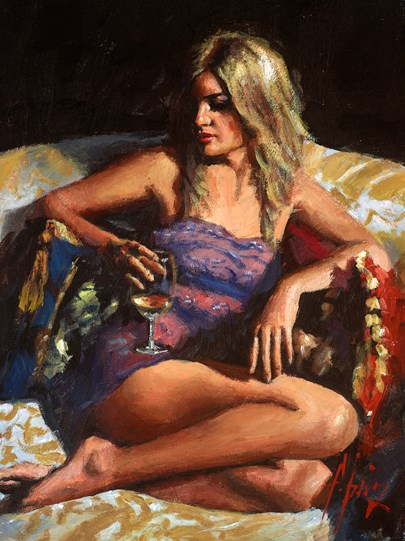 Teressa II by Fabian Perez - Original Painting on Stretched Canvas